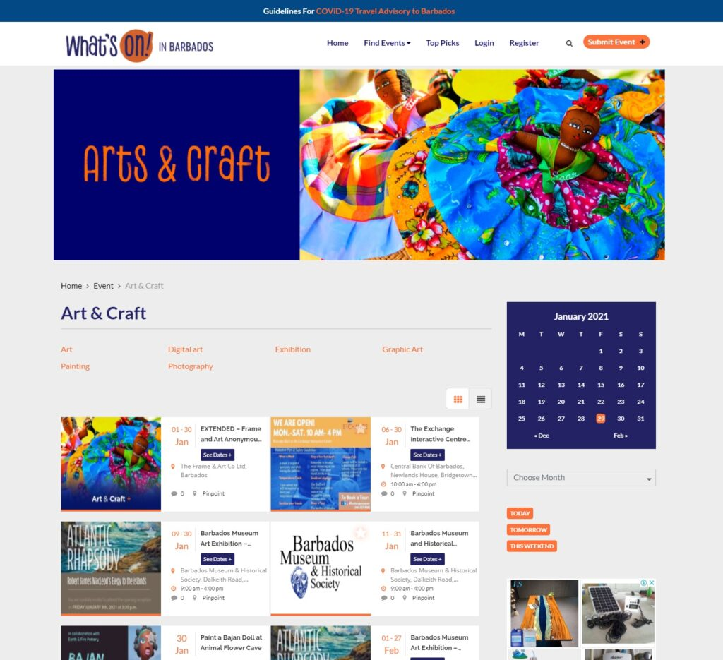 Web design whats on in barbados screenshot