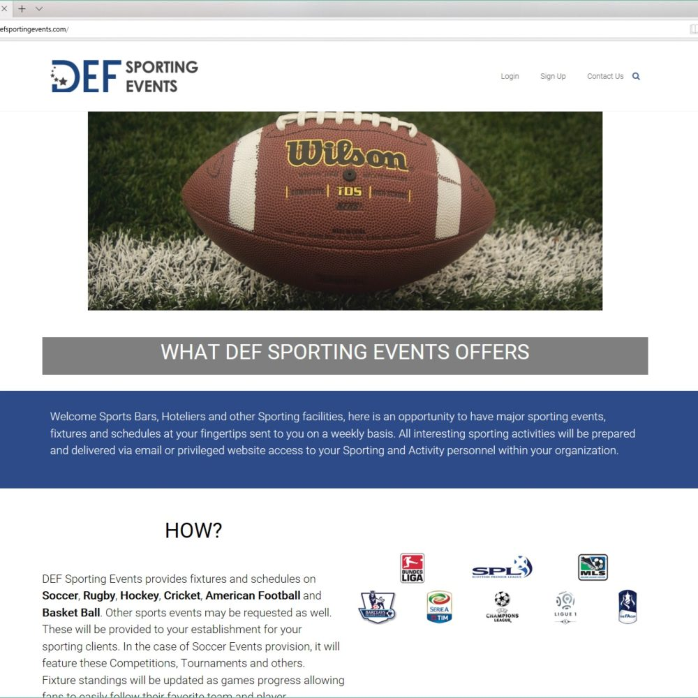 DEF Sporting Events – HTML, CSS, WORDPRESS