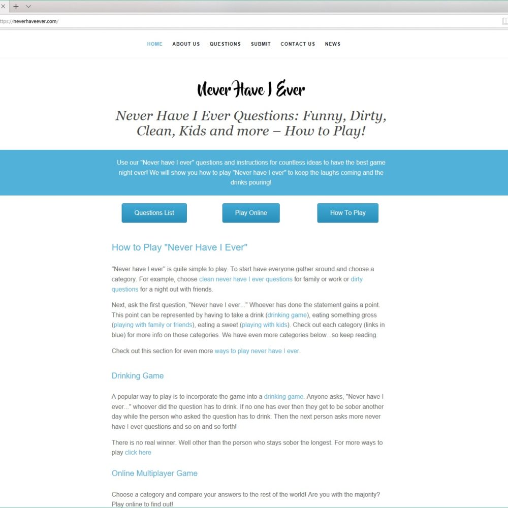 Never Have I Ever – HTML, CSS, WORDPRESS, JQUERY, JAVASCRIPT
