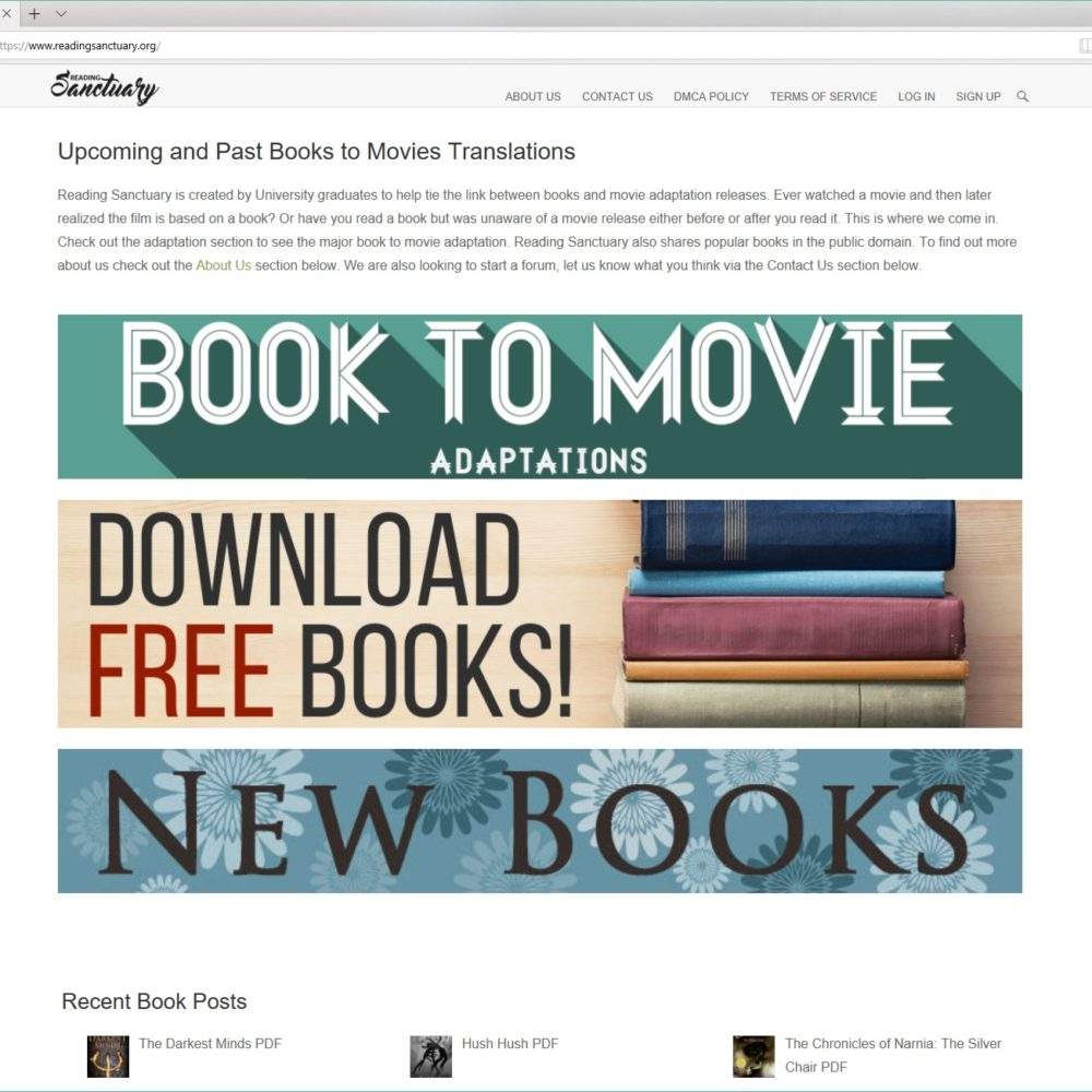 Reading Sanctuary – HTML, CSS, WORDPRESS, JQUERY, ADSENSE